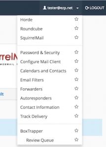 cPanel webmail drop down menu