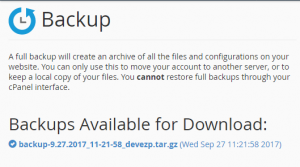 download cpanel backup